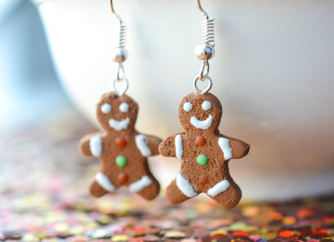 Gingerbread Man Earrings Christmas Colors (wholesale)