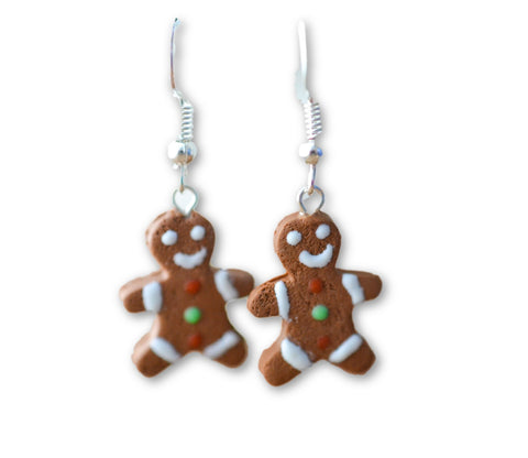 Scented Gingerbread Man Earrings Christmas Colors