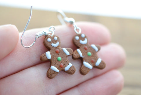 Gingerbread Man Earrings Christmas Colors