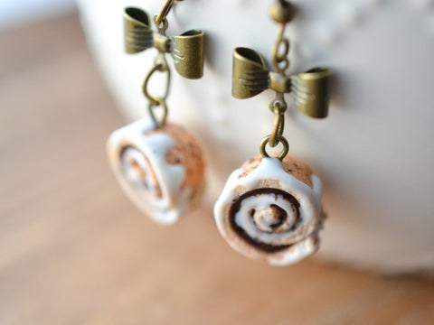 Scented Cinnamon Roll Earrings Antique Bronze