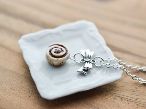 Scented Cinnamon Roll Silver Bow Necklace