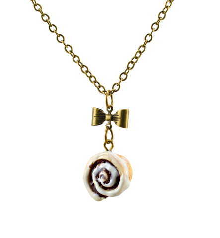 Scented Cinnamon Roll Antique Bronze Necklace