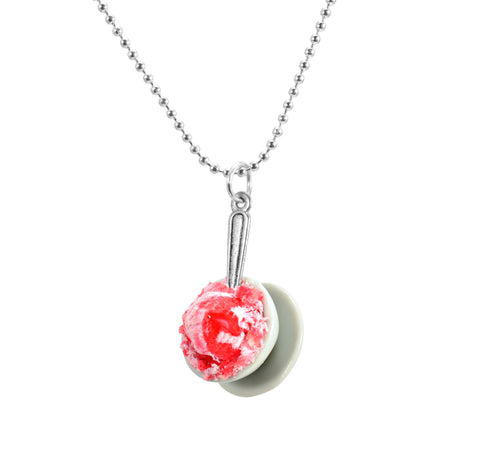 Scented Strawberry Ice Cream Bowl Necklace