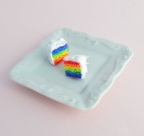 Scented Rainbow Cake Stud Earrings