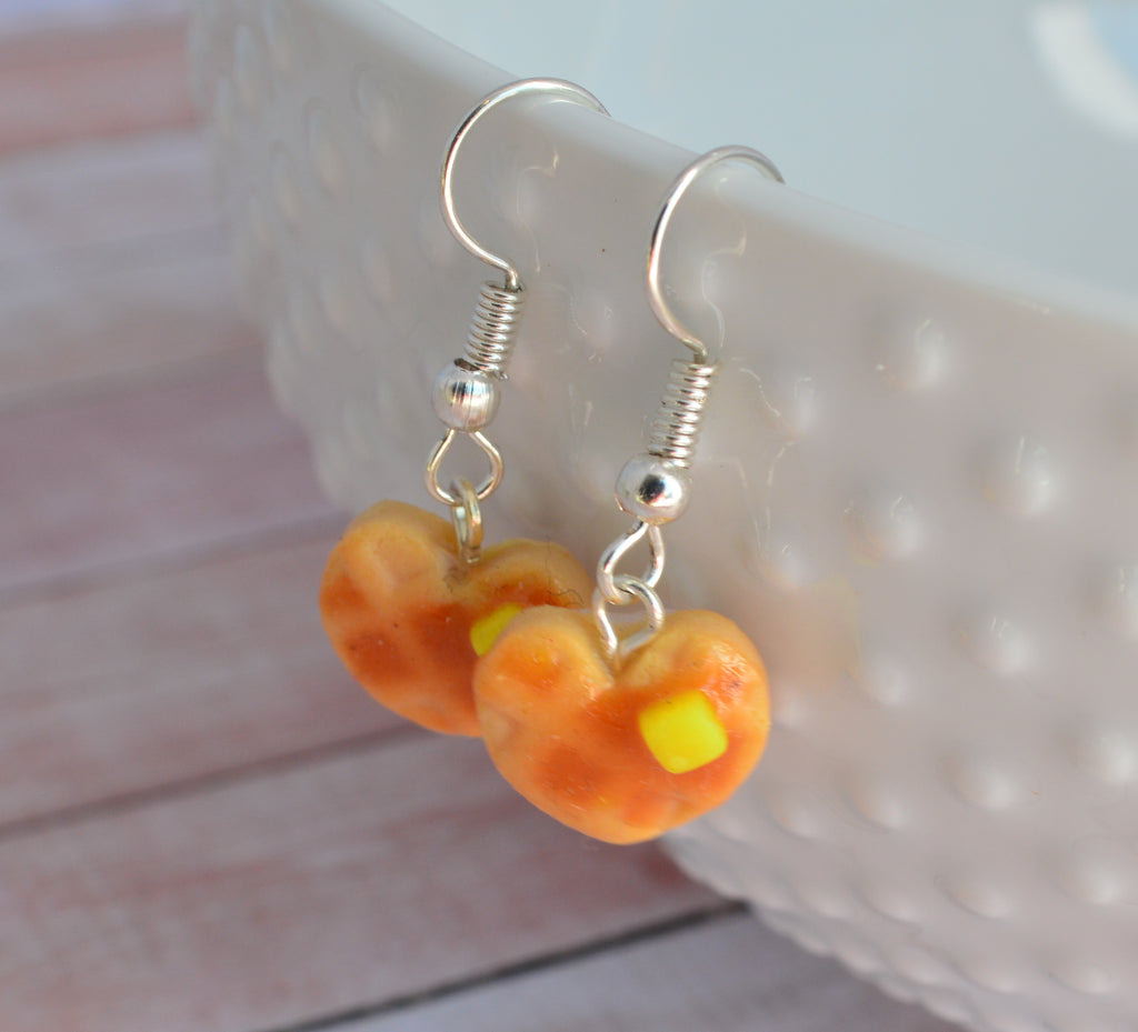 Scented Heart Shaped Waffle Earrings