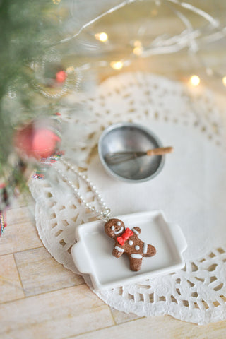 Scented Gingerbread Man Necklace - Red Christmas Bow