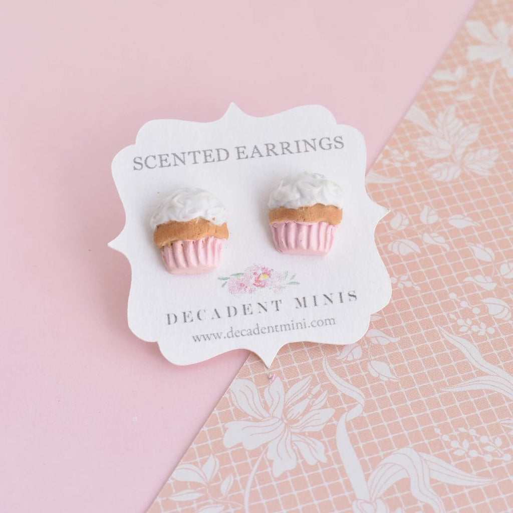 Scented Cupcake Stud Earring -Light Pink