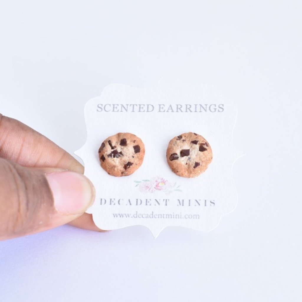 Scented Extra Chunky Chocolate Chip Cookie Stud Earrings
