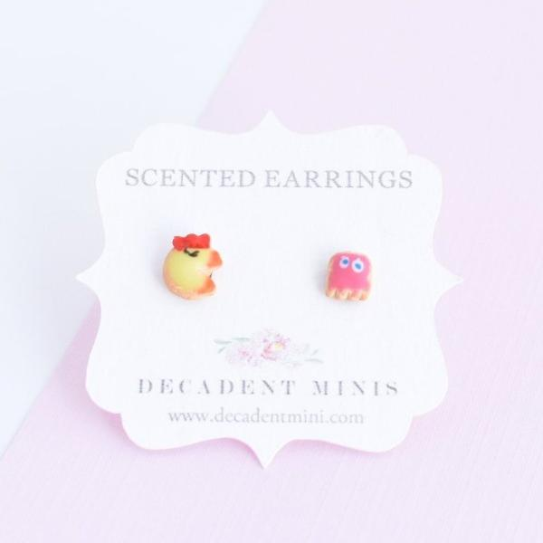 Scented Mrs. Pac-Man & Pinky Sugar Cookie Earrings