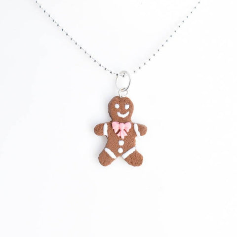 Scented Gingerbread Man Necklace - Pink Christmas Bow