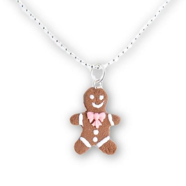 Scented Gingerbread Man Necklace - Pink Bow (wholesale)