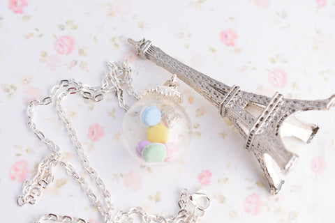 Pastel Macaron Cookie Jar Globe Necklace