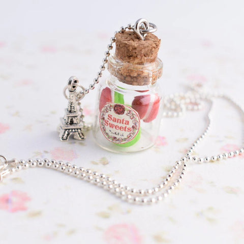 Scented Christmas Macaron Jar Necklace