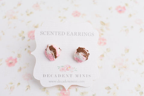 Scented Cotton Candy Ice Cream Scoop Earrings-Neapolitan