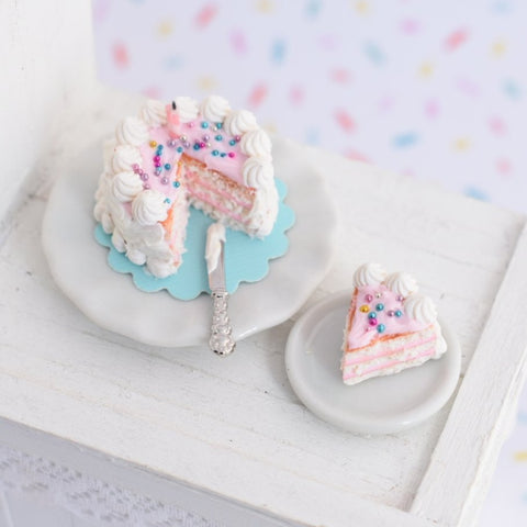 1:12 Scale Scented Dollhouse Miniature Pink Birthday Cake Set