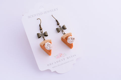 Scented Pumpkin Pie Antique Bronze Earrings