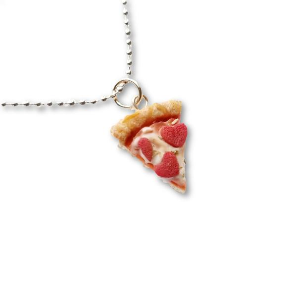 Scented Pepperoni Heart Pizza Slice Necklace