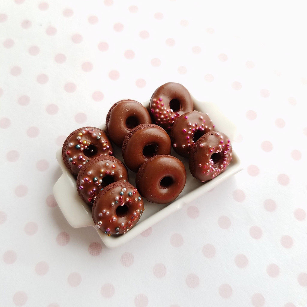 Dolls House Miniature Pink Flower Shaped Donuts Other