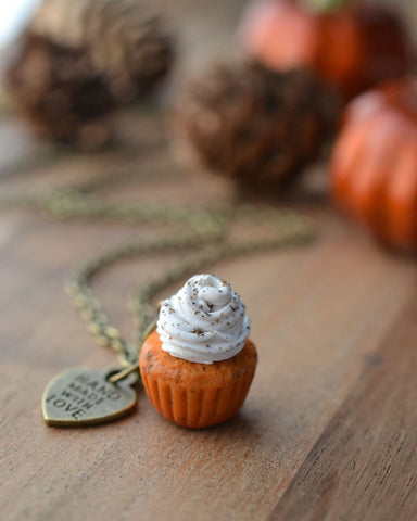 Pumpkin Spice Cupcake Necklace-Vintage