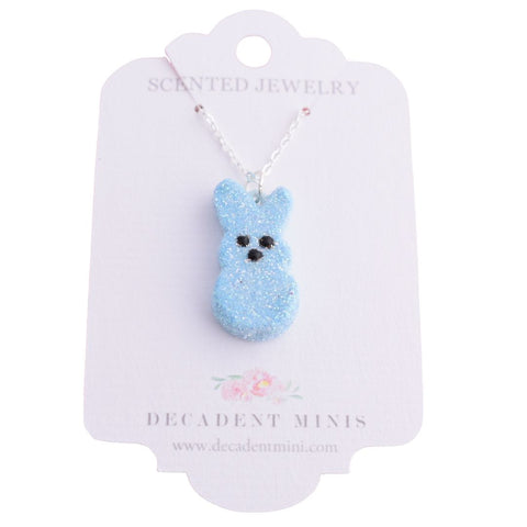 Scented Easter Bunny Peeps Necklace Silver Plated