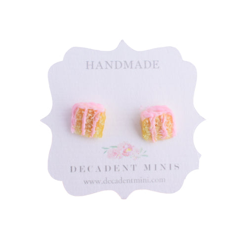 Scented Strawberry Vanilla Cake Stud Earrings