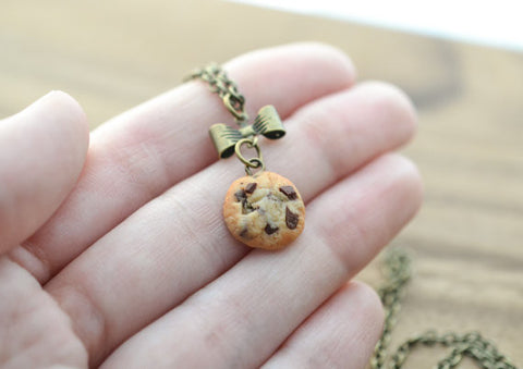 Scented Chocolate Chip Cookie Antique Bronze Bow Necklace