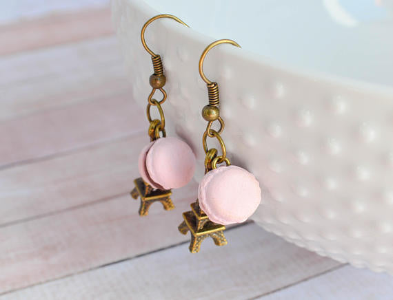 Parisian Sweets Scented Macaron Earrings -Antique Bronze
