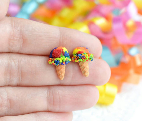 Scented Rainbow Sherbert Ice Cream Cone Earrings