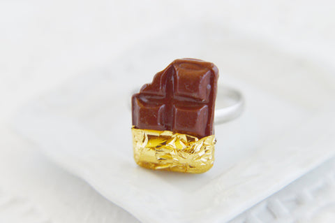 24kt Golden Chocolate Bar Ring