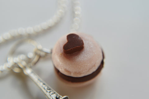 Macaron and Eiffel Tower Charm Necklace