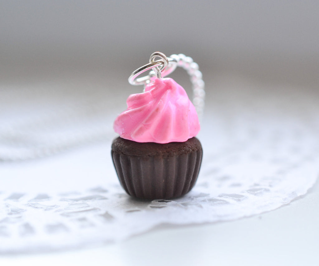 Scented chocolate cupcake charm necklace Food jewelry