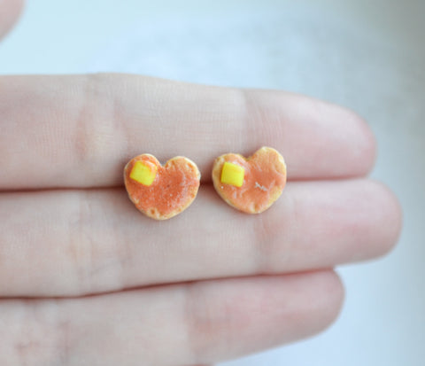 Heart shaped buttermilk pancake earrings -Handmade miniature food jewelry-Scented gift