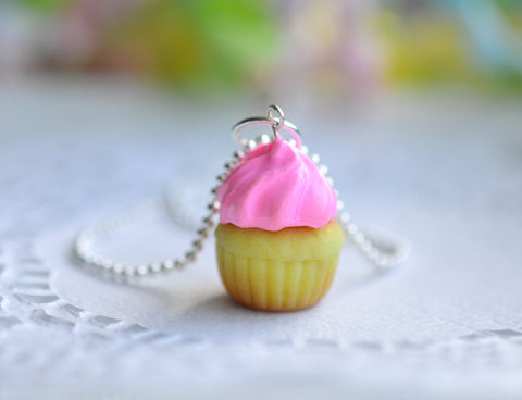 Strawberry Cupcake Charm Necklace