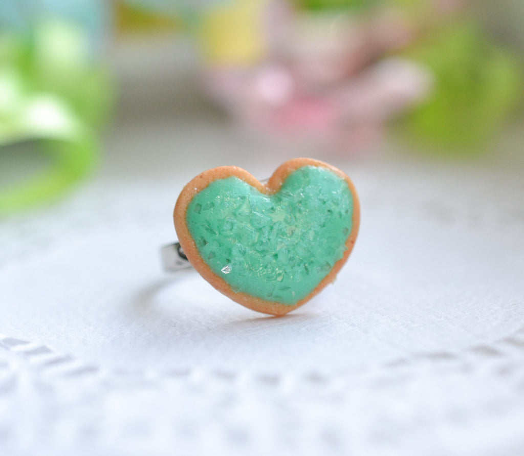 Sugar cookie ring - Aqua blue-Polymer clay miniature food jewelry-Sugar cookie collection