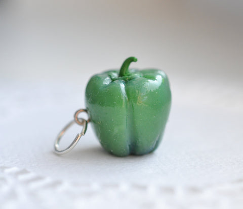 Mini green bell pepper charm-Scented- Polymer clay miniature food gift-Vegan jewelry