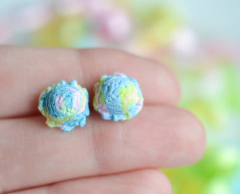 Scented cotton candy ice cream scoop earrings-Blue-Miniature food jewelry