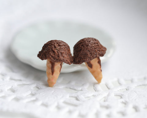 Chocolate Lovers Ice Cream Cone Earrings