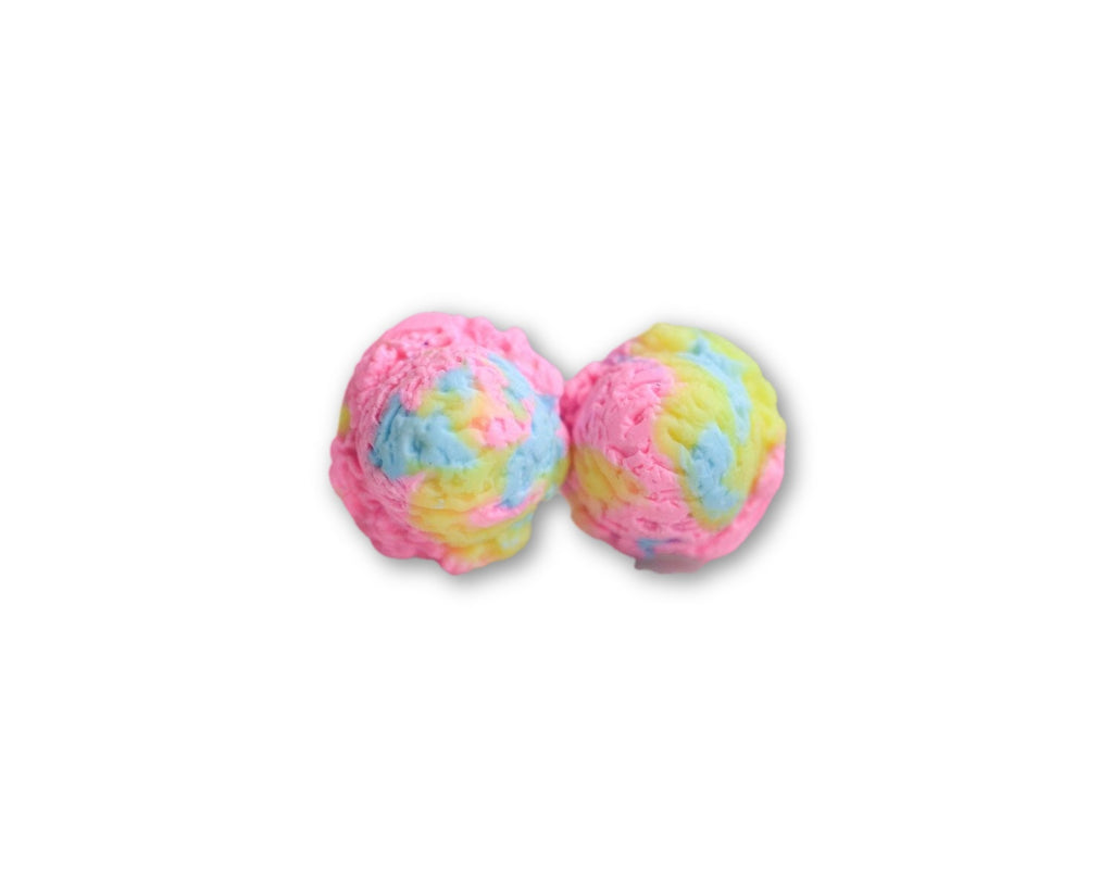 Scented Cotton Candy Ice Cream Scoop Earrings-Pink
