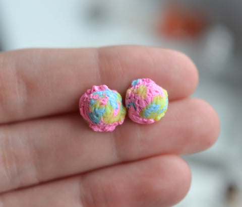 Scented cotton candy ice cream scoop earrings-Pink-Miniature food jewelry