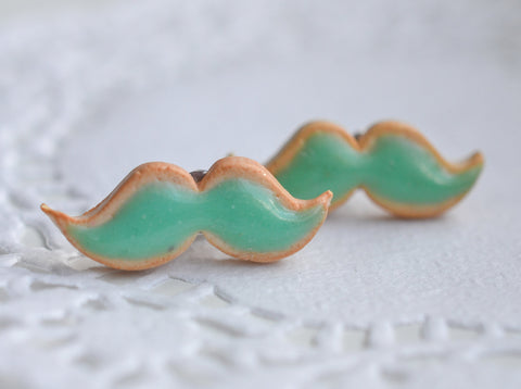 Mustache Sugar Cookie Stud Earrings