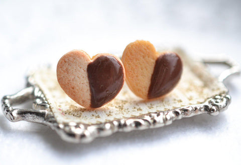 Heart shaped chocolate dipped shortbread cookie earrings