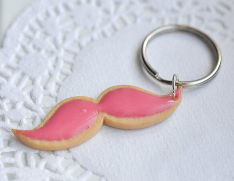 Lyft inspired mustache sugar cookie earrings and keychain set-Sugar cookie collection-Scented-Miniature food jewelry
