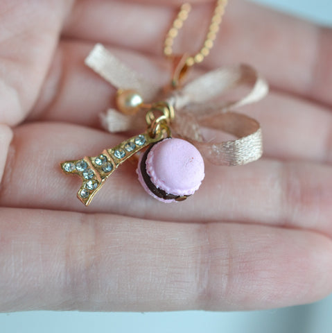 Parisian sweets macaron charm necklace Scented food jewelry Eiffel tower jewelry