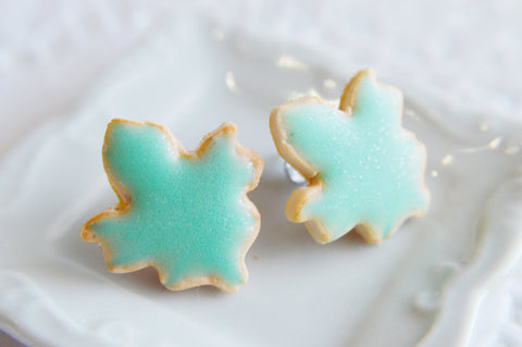 Mint Leaf Sugar Cookie Earrings-Sugar cookie collection-Scented-Miniature food jewelry Thanksgiving
