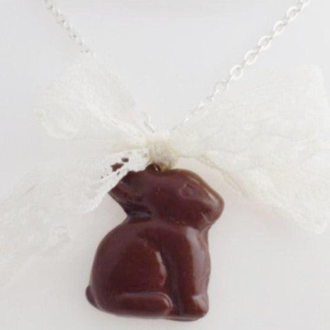 Scented Chocolate Easter Bunny Necklace Silver Plated (wholesale)
