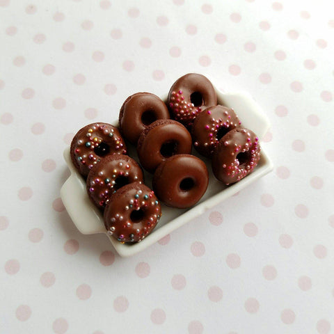 1:12 Dollhouse Miniature Double Chocolate Donut Tray