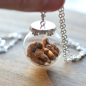 Chocolate Chip Cookie Jar Necklace-Silver