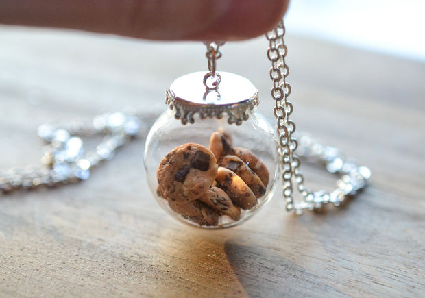 Chocolate Chip Cookie Jar Necklace-Silver 1
