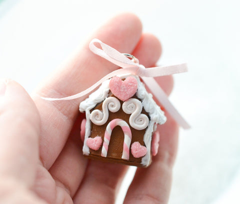 Scented Mini Gingerbread House Charm Ornament-Pink