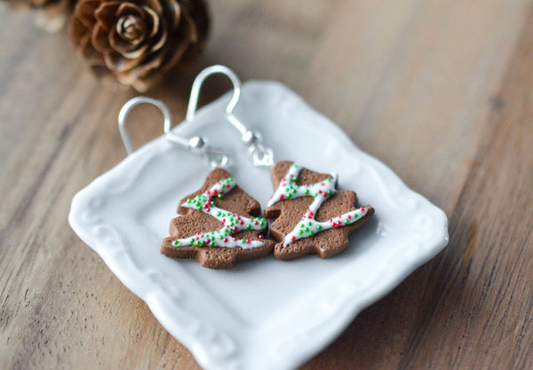 Scented Gingerbread  Christmas Tree Earrings
